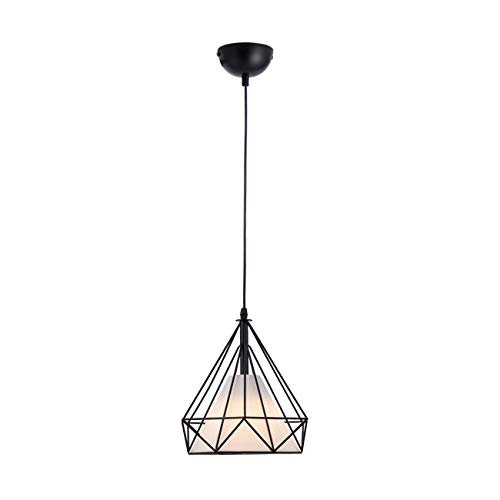 HOGOL Modern Geometric Pendant Light Adjustable Wire Iron Diamond Shade Light Fixture for Kitchen Island Dining Room Hallway