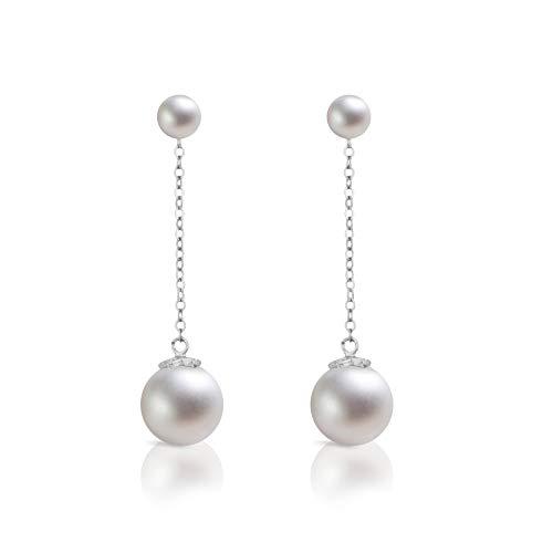 - Dokreil Double Pearl Stud Long Drop Women's Dangle Earrings 925 Sterling Silver