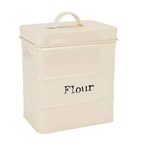 Harbour Housewares Metal Kitchen Flour Canister Bin/Holder - 160x105x180mm - Cream