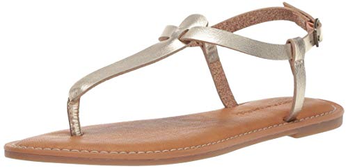 Amazon Essentials Women's Casual Thong with Ankle Strap Sandal, Gold, 6 B US ()