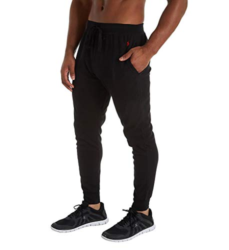 Polo Ralph Lauren Men's Hanging Waffle Solid Jogger Pants Polo Black/Red Pony Player Large ()