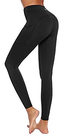 AUU Yoga Pants for Women High Waisted Gym Sport Seamless Leggings Tummy Control Butt Lifting Running Tights Black XS