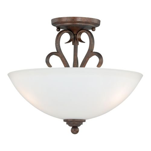 Vaxcel C0097 Hartford 2 Light Semi-Flush Mount, Weathered Patina (Mount Ceiling Fixture Weathered Patina)