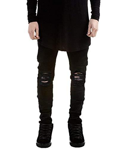 para Fit Rasgados Hombres Destruidos Slim Mezclilla Pantalones Strech Pantalones Jeans Ropa De Vintage Jeans Básicos Negro Jeans Informal IC6qq