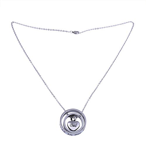 Fashionhe Jewelry Two Circle Pendants Love Stainless Steel Urn Box Necklace Wine Lover Chain Accessories(Silver-A)