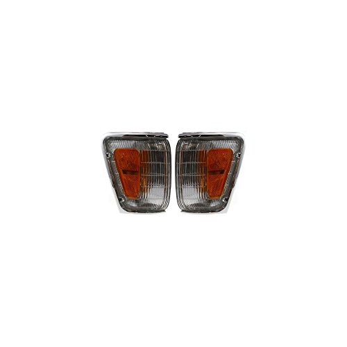 Corner Light Set of 2 Compatible with 90-91 Toyota 4Runner SR5 Right and Left Side Assembly w/Chrome Trim
