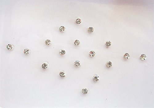 32 Silver 1 mm Stick on Stone Fake Nose Studs Stickers, Silver Stone Round Bindis, Self Adhesive Face Jewels