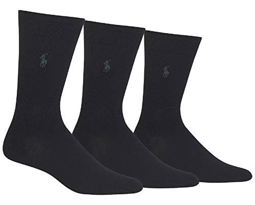 Polo Ralph Lauren Men's Flat-Knit Dress Socks, 3-Pack - Black, One Size