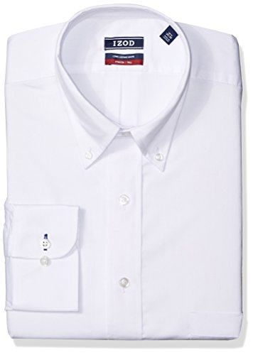 IZOD Men's Big and Tall Dress Shirts Stretch Fit Solid, White, 18.5