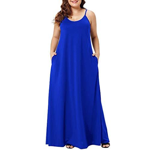 Juesi Women's Plus Size Dress, Spaghetti Strap Solid Pocket Losose Maxi Dress]()