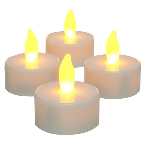 Inglow by Sterno Home Flameless Tea Light Candle, 25 Hours of Run Time, Battery Operated, 4-Pack, White (CG10059WH4)