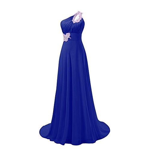 Fashion Plaza One-shoulder Sexy Elegant Prom Evening Bridesmaid Dresses With Diamonds D031
