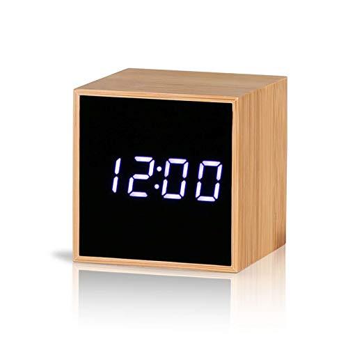 Reliable-E Digital Alarm Clock Bamboo Wood LED Light Mini Modern Cube Desk Alarm Clock Displays Time Date Temperature (Square)