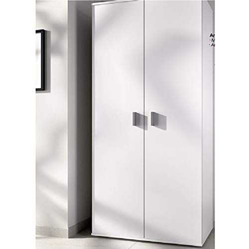 Medidas: Alto 190cm Fondo 35cm. Ancho 61cm HABITMOBEL Armario Auxiliar Blanco Multiusos 2 Puertas 6 estantes