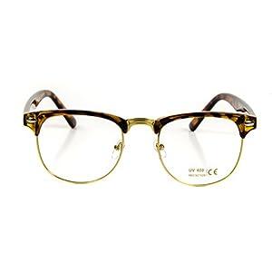 Goson Classic Tortoise Gold Frame/Clear Lens Horned Rim Clubmaster Glasses 50mm