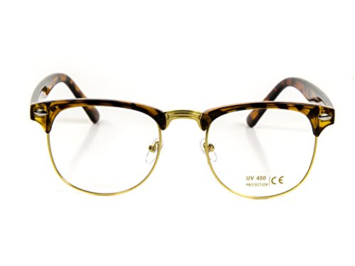 Goson Classic Tortoise Gold Frame/Clear Lens Horned Rim Clubmaster Glasses - Brown Rimmed Glasses