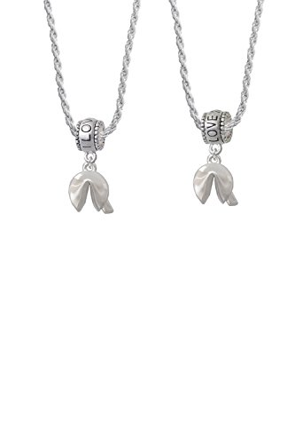 Delight Jewelry 3-D Fortune Cookie I Love You More Bead Necklace Set of 2