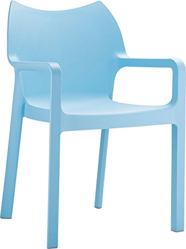 Clear Chair Store 028LB Diva Indoor and Outdoor Stacking Arm Chair (Set of 4), Light Blue (Stacking Plastic Chairs Outdoor)