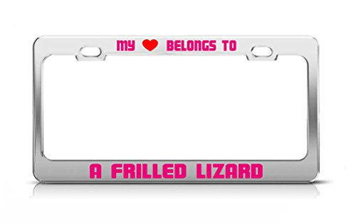(MY HEART BELONGS TO A FRILLED LIZARD Animal Safari License Plate Frame)