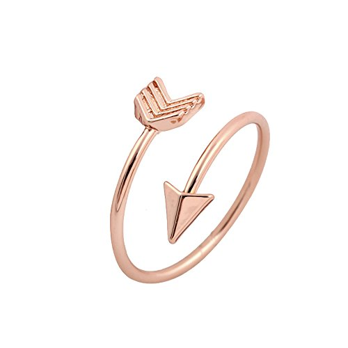 Double Up High Wrap (AOCHEE Adjustable High Polished Open Arrow Wrap Ring for Women Girls (Rose gold))