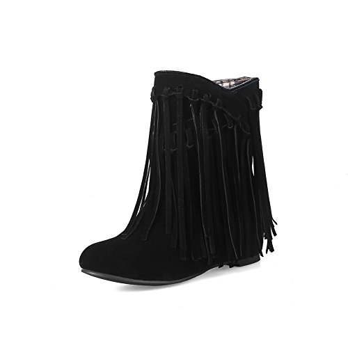 BalaMasa Womens Pointed-Toe Casual Tassels Suede Boots ABL10462 Black