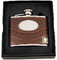 Message Plate Personalised (Personalised Brown Leather 4oz Hip Flask Set Plate Engraved with your message FL29)