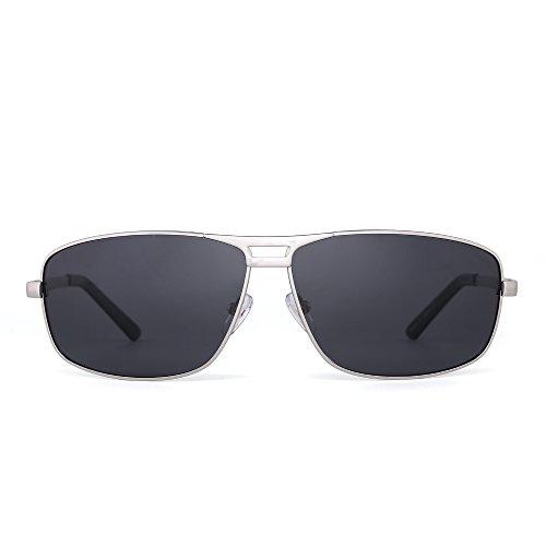 Polarized Rectangle Sunglasses Aviator Spring Hinge Driving Eyeglasses Men Women (Silver / - For Big Man Nose Eyeglasses