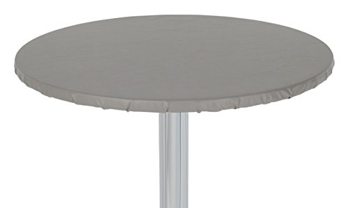 """Yourtablecloth Heavy Duty Vinyl Round Fitted Tablecloth (Table Cover) with Flannel Backing Vibrant Colors Elasticized Tablecloth Great for Indoor and Outdoor Dining and Playing Cards 36"""" Grey"""