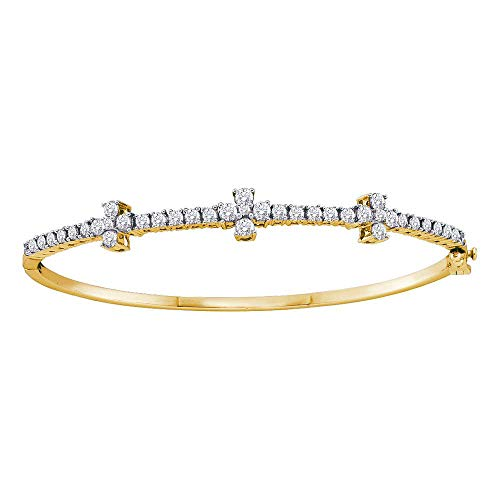 - 14kt Yellow Gold Womens Round Diamond Pave-set Bangle Bracelet 1-1/2 Cttw