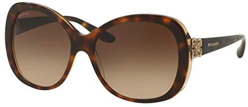 Bvlgari Women's BV8171BF Sunglasses Top Havana/Brown Crystal/Brown Gradient 57mm