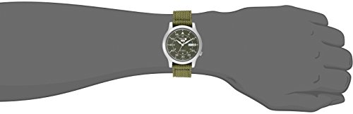 Seiko Mens SNK805 Seiko 5 Automatic Stainless Steel Watch with Green Canvas Strap