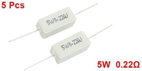 DealMux a13062400ux0616 5W 0.22 Ohm 5/% Resistencia de potencia de cemento de cer/ámica axial 5 piezas