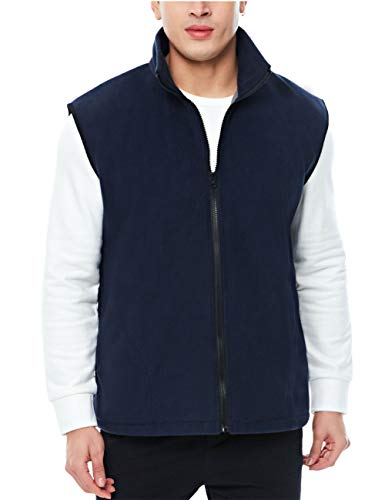 APRAW Men's Polar Fleece Vest Outerwear Sleeveless Full Zip Navy - Vest Navy Fleece