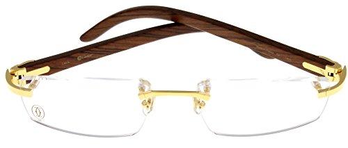 834d095aee Cartier Prescription Eyeglasses Frame Gold Wood T8100905 Rimless ...