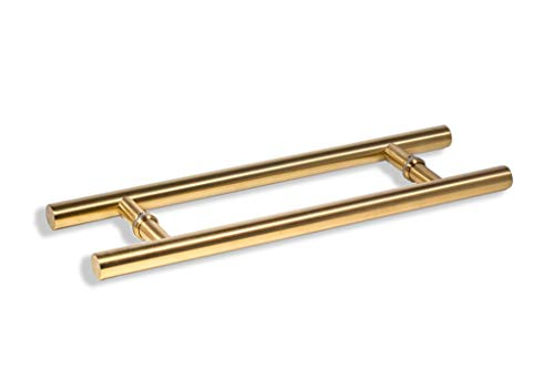12 Inch Round Shape Bar Stainless Steel Modern Contemporary Entry Door Handle Bar Ladder Pull Shower Glass Sliding Barn Door Entrance Kitchen Shop Interior Exterior Door Pull Push Gold Plated Finish