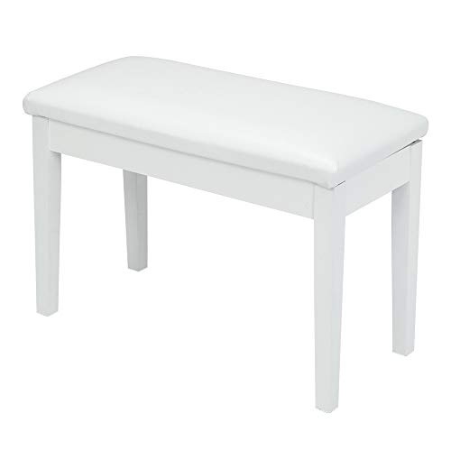SSLine White Duet Piano Bench Wooden Keyboard Benches with Storage and Faux Leather Padded Seat Professional Double Persons Piano Stool
