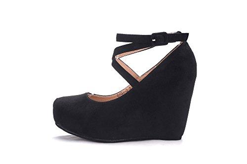 Mila Lady High Wedge Pump Slip on Shoes (Gigi-2) Black Hn1gBN8tU