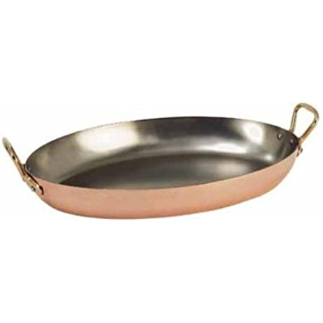 INOCUIVRE Oval Copper Stainless Steel Dish With 2 Brass Handles 14 X 10 5
