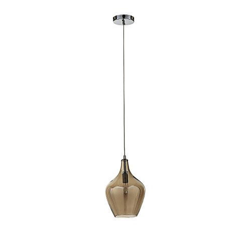 Ove Decors Lane Vintage Style Pendant, One LED Light with Cognac Stained Glass Finish -