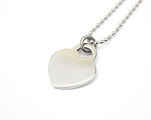 22' Steel Bead Chain (COUYA 316L Stainless Steel Polished Love Heart Pendant Necklace with Bead Chain 22'')