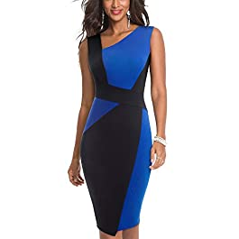 HOMEYEE Women's Vintage Sleeveless Contrast Color Stretch Business Dress B517