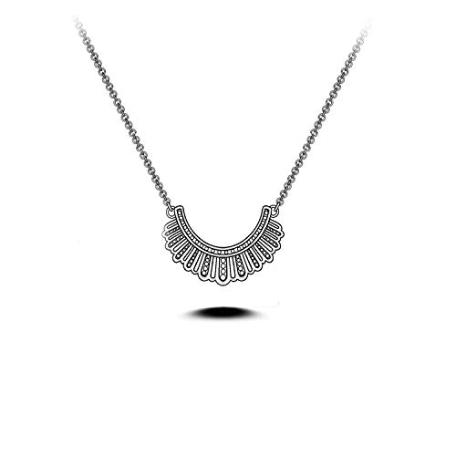 SISGEM RBG Dissent Collar Necklace,S925 Sterling Silver Ruth Bader Ginsburg Necklace Jewelry Gifts for Women Ruth RBG Fans