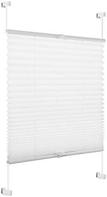 Eurohome - Estor plisado sin agujeros para ventanas, tela, Blanco, 40x130cm: Amazon.es: Hogar