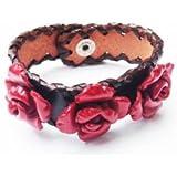 bijoucolor - bracelet cuir large avec fleurs rouges - sd-002-169-12-rge - rouge
