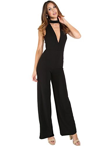 MakeMeChic Women's Sexy Deep V Neck Sleeveless Wide Leg Jumpsuits Dress Black M