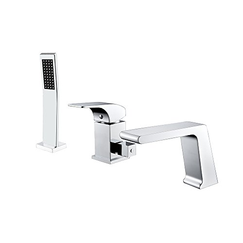 JiaYouJia Modern Chrome Deck Mounted Roman Tub Filler Faucet & Hand Shower Solid Brass with Valve