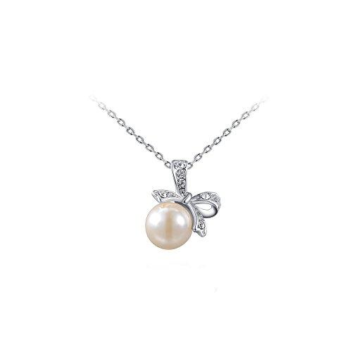 Deezire Jewels Pearl Cubic Zircon Silver Bow Knot Pendant Necklace For Women   White Gold Vermeil