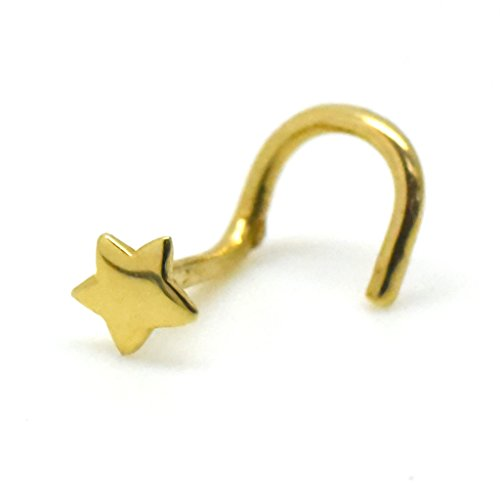 - 14k Gold Nose Stud Simple Star Piercing Cartilage Jewelry Screw Twist End