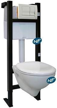 Regiplast – bâti-support para WC suspendida – Pack bâti-support Universal EVO con control, cubeta y asiento blanco NF Regiplast: Amazon.es: Bricolaje y herramientas