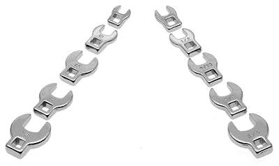 Powerbuilt 640830 3/8-Inch Drive Crowfoot Wrench Set, 10-Piece